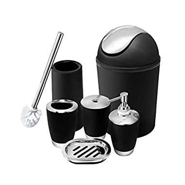 6 Piece Bathroom Accessories Set,Plastic Bath Ensemble Bath Set Lotion Bottles, Toothbrush Holder, Tooth Mug, Soap Dish, Toilet Brush, Trash Can (black)