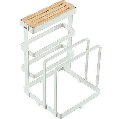 Afdruiprek/Vaat Droogrek Metal messenblok, snijplank Holder, Keuken Organizer, bakvormen Droogrek, Pan Pot deksel Storage & display (wit)