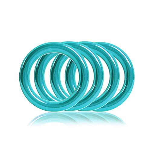 Ganzoo O - Ring aus Stahl, 4er Set, DIY Hunde-Leine/Hunde-Halsband, nichtrostend, Ideal mit Paracord 550, geschweißt, Farbe: türkis