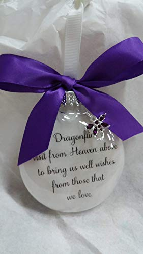 Dragonfly Memorial Christmas Ornament Gift Dragonflies visit from Heaven with Purple Crystal Charm