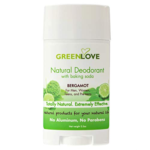 Green Love Natural Deodorant for Women - Aluminum Free Womens Antiperspirant Stick with Baking Soda - Ultra-Efficient, No Parabens Underarm Female Deodorant with All Natural Ingredients - Bergamot