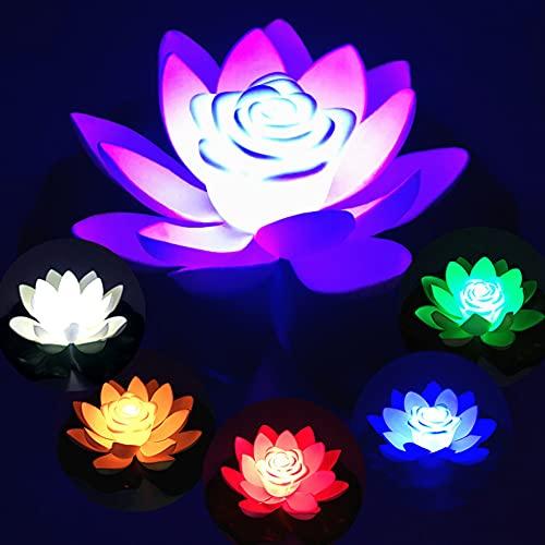 Artificielle Nénuphar Flottants, Lumière de Piscine Lotus, LED Lotus Nénuphar Flottant pour Bassin, Mousse Flottante Plantes Fleurs de Lotus pour Jardin/Piscine/Fontaine/Aquarium