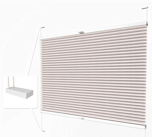 Home-Vision® Premium Plissee zum Anschrauben in der Glasleiste Innenrahmen (Creme, B70cm x H100cm) Blickdicht Plissee Jalousie mit Halterungen zum Bohren, Sonnenschutzrollo Rollo