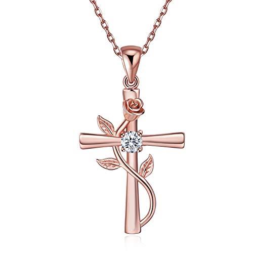 BlingGem Collier pour Femme Croix Rose Argent 925/1000 Plaqué Or Rose Oxyde de Zirconium Rose Fleur Pendentif Collier Fille Cadeau pour Femme