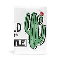 ブックカバー 文庫 a5 本 カバー 革 レザー サボテン 植物 手描き 北欧風 英文柄 おしゃれ かわいい 文庫本カバー ファイル 資料 収納入れ オフィス用品 読書 雑貨 プレゼント