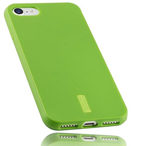 mumbi Hülle kompatibel mit iPhone SE 2 2020/7 / 8 Handy Hülle Handyhülle, grün mit grünem Streifen