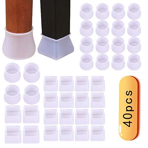 NANAOUS - Funda protectora de silicona para muebles, antideslizante, para patas de la silla, protector de suelo, evita arañazos y ruidos sin dejar marcas transparentes (40 unidades)