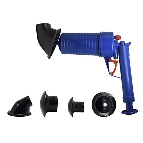ZONJIE Tapón de dragado para inodoro, bomba de aire, bomba de drenaje de aire, tubo de dragado, herramientas utilizadas para cocina, baño, tubo de dragado azul (1 émbolo 4 chupadores)