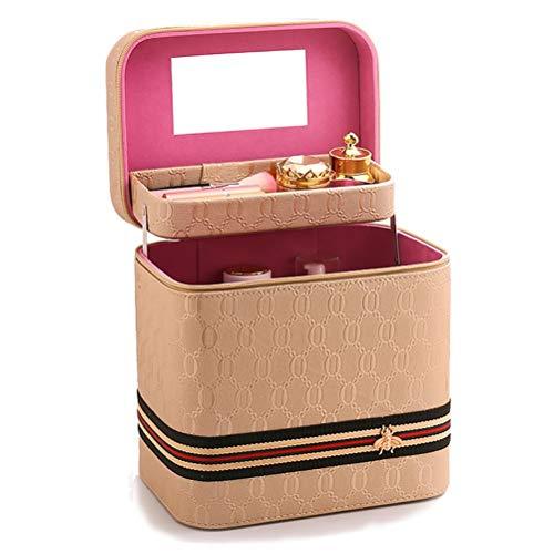 Cosmetica opbergdoos cosmetica opbergdoos - PU make-up tas, draagbaar, licht en eenvoudig te vervoeren, met make-up spiegel, balkon in de hals Goud
