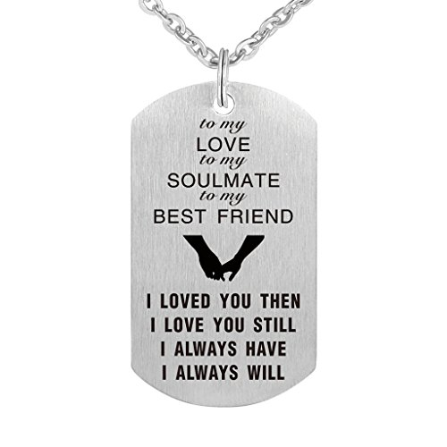 CraDiabh to My Love Husband Wife BoyfGirl Friend Soulmate Bestfriend Dog Tag Necklace Valentine Stainless Steel Military Necklaces