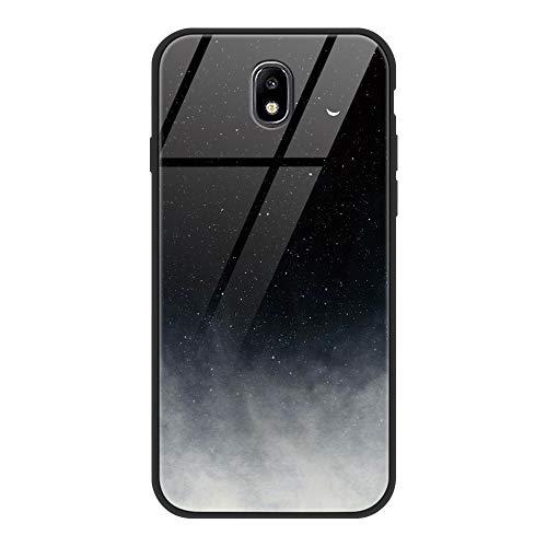 ZhuoFan Funda Samsung Galaxy J7 2017, Cárcasa Silicona 3D Cristal Templado Diseño Antigolpes de Protector Souple Gel TPU Bumper Case Cover Piel Fundas para Movil Samsung GalaxyJ7, Gris Negro
