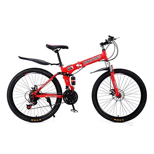 Mountain Bike Bicicletta MTB 26 In Mountain Bike Pieghevole 21 Velocità Con Forcella Anteriore Assorbente Ammortizzatore Telaio In Acciaio Carbonio Mtb Bici Per Ragazzi Ragazze Uomini E W(Color:rosso)