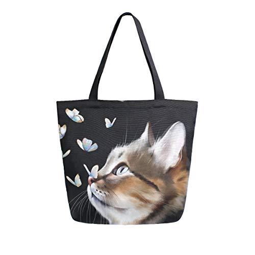 Mnsruu Schwarze Katze, Kätzchen, Schmetterling, Tiere, Lebensmittel, wiederverwendbar, große Handtasche, Schultertasche für Shopping, Lebensmittel, Reisen, Outdoor