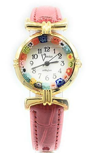 Orologio Donna Acciaio Dorato Pelle Watch in Vetro di Murano Murrina Millefiori Lady