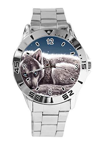 Snow Wolf Custom Design Analog Armbanduhr Quarz Silber Zifferblatt Classic Edelstahl Band Damen Herren Armbanduhr