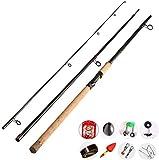 Miwaimao Canne à pêche télescopique en carbone Long Shot Interlude Super Hard Ancre Perche Manche en chêne, 3.9m