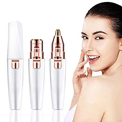 Facial Hair Remover Women, Gianic 2-1 Face Nose Eyebrow Trimmer Electric Lady Shaver Painless Hair Remover for Face Eyebrows Ear Nose Lips Chin Female Hair Removal (2 in 1 White)