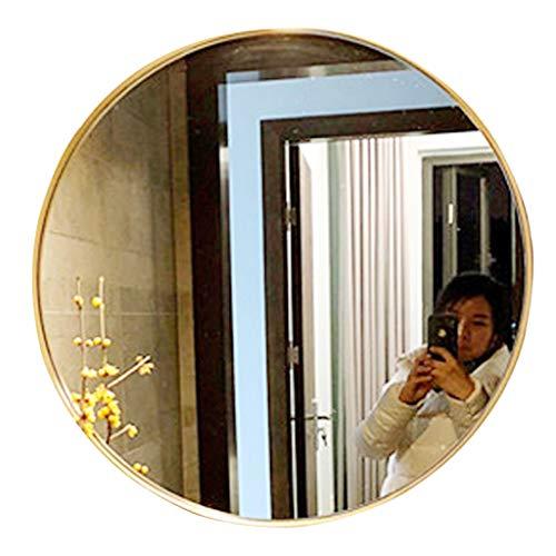 Miroir Mural Miroir De Salle De Bain Rond Doré Élégant Miroir De Vanité De Salle De Bain Simple HD Miroir Mural De Frontière De Porche Miroir De Vanité De Salle De Bain (Color : Gold, Size : 70cm)