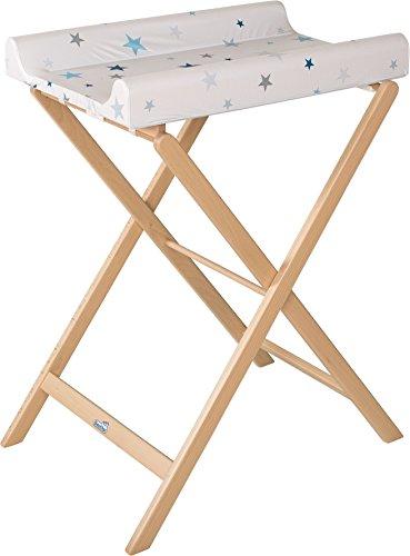 Geuther Table à Langer Pliable Trixi, Naturel, Matelas Coloris Etoile