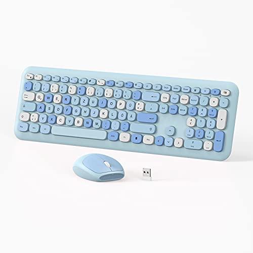 NIXIUKOL Tastatur Maus Set Kabellos 2.4G Kabellose Tastatur und Leise Funkmaus | Wireless Tastatur Maus Deutsches QWERTZ Layout mit USB Empfänger für PC/Laptop/Smart TV | Mixed Blau