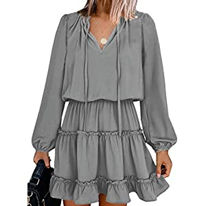 Women's Split V Neck Ruffle Chiffon Elegant Mini Short  Dresses