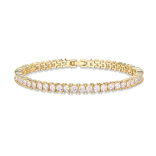 PAVOI 14K Gold Plated Cubic Zirconia Classic Tennis Bracelet | Yellow Gold Bracelets for Women | 3mm CZ, 6.5 Inches