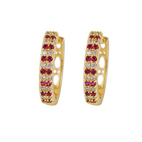 YAZILIND 18K Elegantes Vergoldet Zirkonia Hohl Hoop Huggies Ohrringe für Frauen Schmuck Geschenk Überzogen