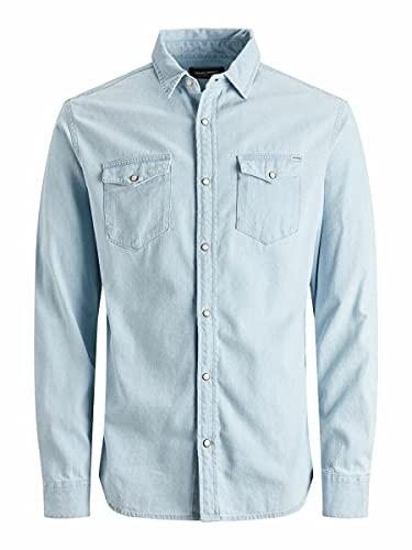 Jack & Jones Jjesheridan Shirt L/s Noos Camisa, Mezclilla Azul Claro, XL para Hombre
