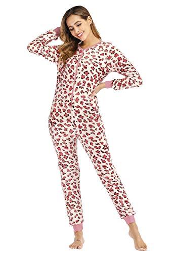 Orshoy Damen Jumpsuit Onesie Overall Einteiler Pyjama Schlafanzug Trainingsanzug Ganzkörperanzug Hausanzug Homewear Mit Reißverschluss Rosa S