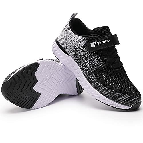 Baskets Garcon Chaussures de Sport Enfant Sneakers Mode Chaussure de Course Confortable(YF64-Noir 37EU)