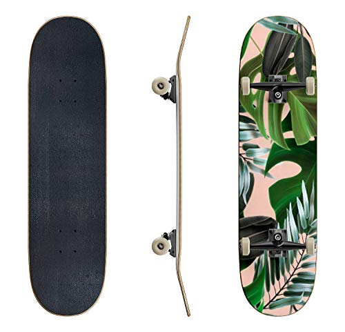 EFTOWEL Skateboards Tropical Palm Leaves Seamless Stylish Fashion Floral Pattern in Classic Concave Skateboard Cool Stuff Teen Gifts Longboard Extreme Sports for Beginners and Professionals