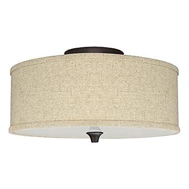 Revel/Kira Home Newport 14  2-Light Semi-Flush Mount Ceiling Light + Beige Linen Drum Shade, Oil-Rubbed Bronze Finish