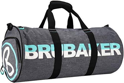BRUBAKER - Sac de Sport/Duffel Bag - Grande capacité 27L - Imperméable - Compartiment à Chaussures & Bandoulière Amovible - Unisexe - 54 x 25 cm Ø - Gris chiné/Turquoise