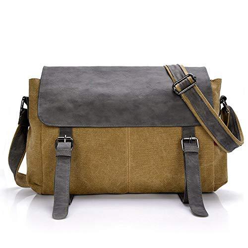 Belegao Canvas Messenger Bag - Schoudertas Crossbody 14 inch laptop-aktetas Waterbestendige tas Meerdere zakken Schoudertas voor heren Dames Werk School
