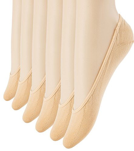 Women's No Show Liner Socks 6 Pairs Ultra Low Cut Nylon Casual Socks Non Slip Beige