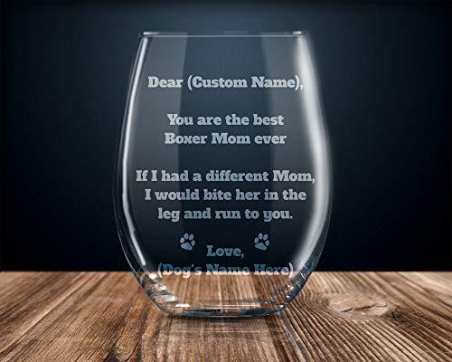 Boxer Gift for Women Boxer Wine Glass Boxer Gift for her Boxer mom...