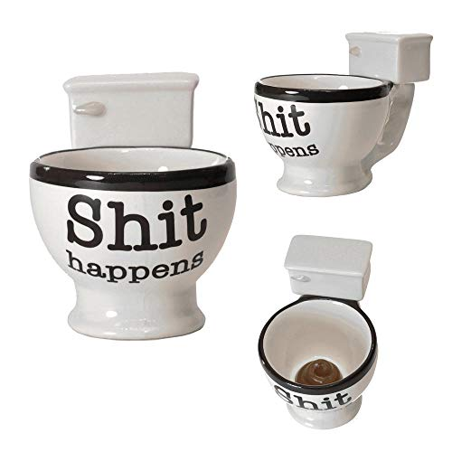 Shit happens WC-Schüssel Kaffeebecher - Toilette Kaffeetasse Toilettenschüssel