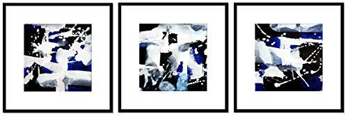 Abstraktion No. 05920 schwarz & weiß mit blau - gerahmt