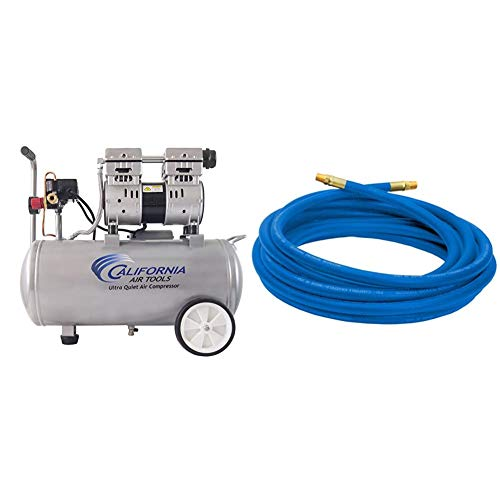 California Air Tools 8010 Ultra Quiet & Oil-Free 1.0 hp Steel Tank Air Compressor, 8 gal, Silver & Campbell Hausfeld 25' Air Hose (PA117701AV)