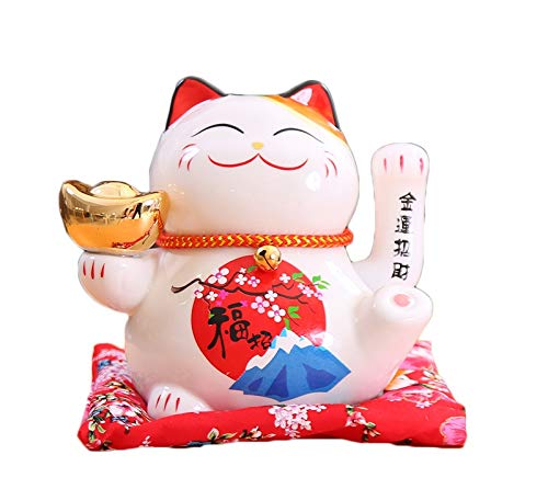 Maneki Neko Porcelana Gato de la Suerte Afortunado Gato agitando el Brazo Waving Arm Lucky bendición,Blanco L16*W14*H16cm, F