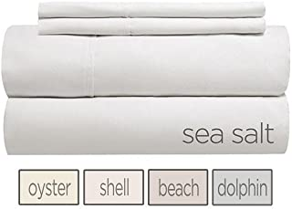 Gotcha Covered SHORE Collection QUEEN Size 100 Percent Combed Cotton Percale 310 Thread Count Bed Sheet Set - Low Profile Up to 11 in. Sea Salt Color