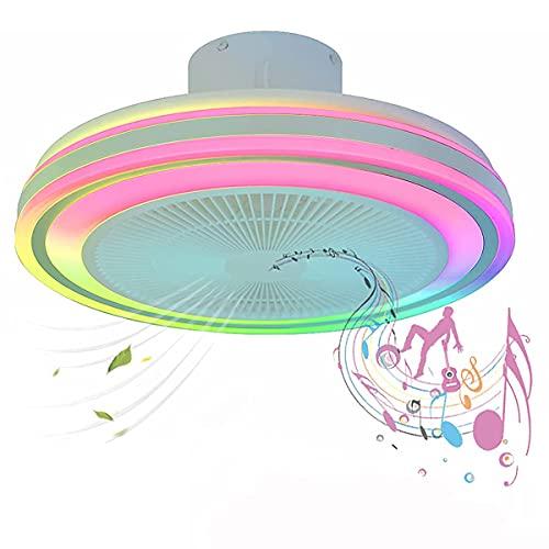 NBZH Ventilatore a soffitto a soffitto a LED 36W con Telecomando Leggero e Telecomando Lampadario Ventilatore Moderno con Altoparlante Bluetooth RGB Temperatura a Colori Regolabile