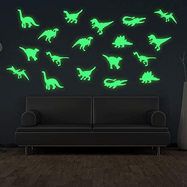 45 Pcs Dinosaurs Luminous Wall Stickers 3D Glow In Dark Dinosaurs Wall Decorative For Baby Children Room Wall Decals