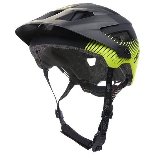 O'NEAL | Casco Enduro All-Mountain Bike | Ventilación, Almohadillas Lavables, Norma de Seguridad EN1078 | Casco Defender Grill V.22 Adulto | Negro Amarillo Neón | Talla L-XL