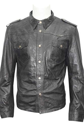Homme Noir Toile Jeans Trucker en Cuir Chemise véritable Motard Veste XS
