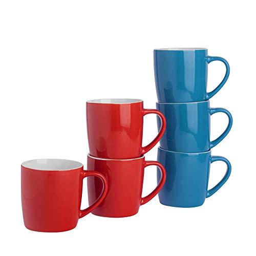 Tasses à thé/café en céramique - coloré/Moderne - 340 ML - Rouge/Bleu - Lot de 6