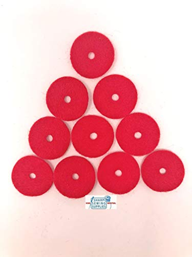 Sharp Sewing Singer Sewing Machine or Crafts Red Spool Pin Felt Pads ~ 10 Pack