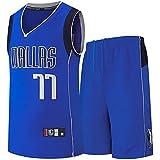 Camiseta de Baloncesto para Hombre, NBA #77 Sports Jersey Uniformes Baloncesto para Adultos, Ropa Deportiva Entrenamiento Sin Mangas Bordado Transpirable y Resistente al Desgaste para Fan,Azul,S