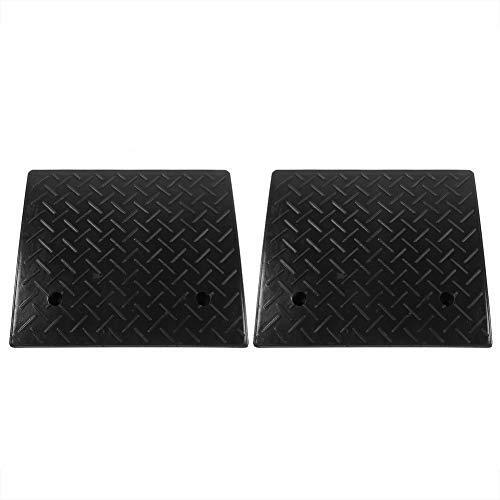 Gummi-Rampe, 2 stücke Bordsteinrampe Türschwellenrampe Schwelle Rampe für Auto Fahrzeug Motorrad Rollstuhl, Typ optional (48,7 x 42,5 x 10,6 cm, Schwarz)