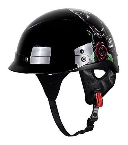 HJKLL Motorbike Helmet Full face Retro Helmet,Half Helmet, Motorcycle Half Face Personality Bicycle Half, Helmet for Adult Men and Women (Color : A, Size : 54-56cm) (Color : A, Size : 59-61cm)